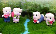 2 amantes do estilo casal de porcos sweethearts terrários de musgo de gnomos de jardim de fadas em miniatura artesanato estatuetas para casa decoração 2 pcs(China (Mainland))