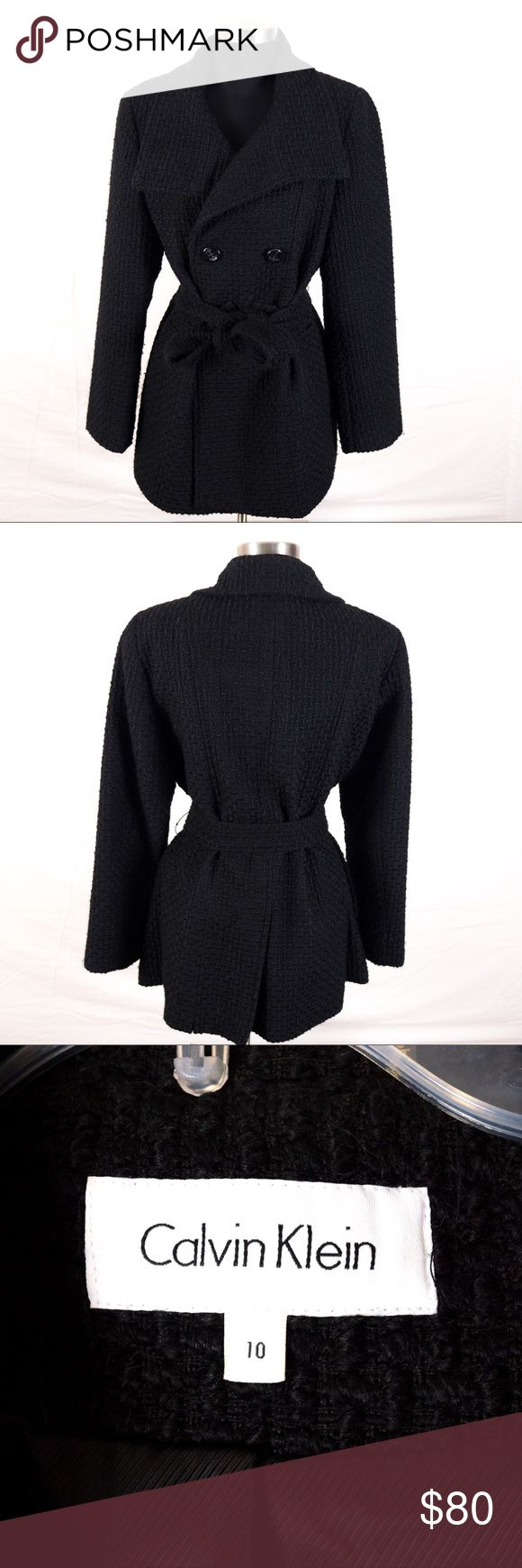 Classic Calvin Klein Black Pea Coat Classic Calvin Klein Black peat coat. Beautiful braided twill detail. Belt adds a cinched waist line detail that is flattering on any figure. Hardly worn and like new! Calvin Klein Jackets & Coats Pea Coats