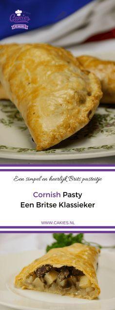 Cornish Pasty is een traditioneel Brits pasteitje en het nationale gerecht van Cornwall. Een pasteitje gevuld met rundvlees, aardappel, koolraap en ui. #recept #pasteitje #hartig