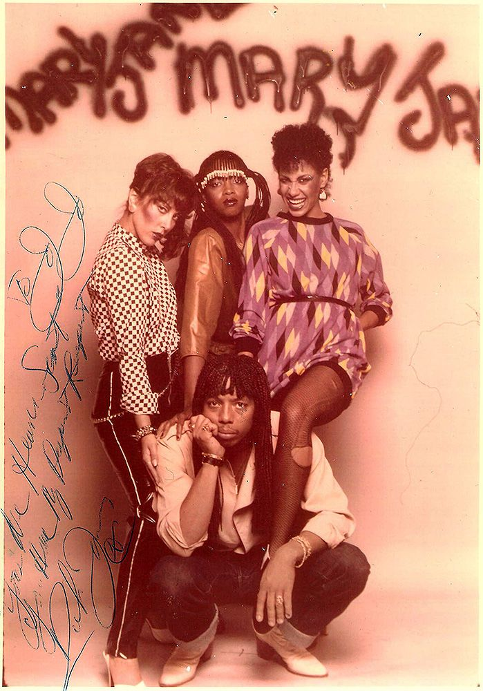 Rick James with the Motown group he created, the Mary Jane Girls