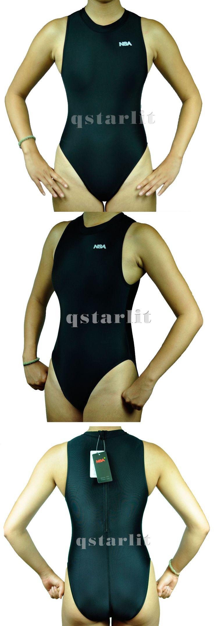 Women 140051: Girls Women Female Endurance Hi-Neck Zip-Up Hydrasuit Water Polo Swimwear Black BUY IT NOW ONLY: $37.39