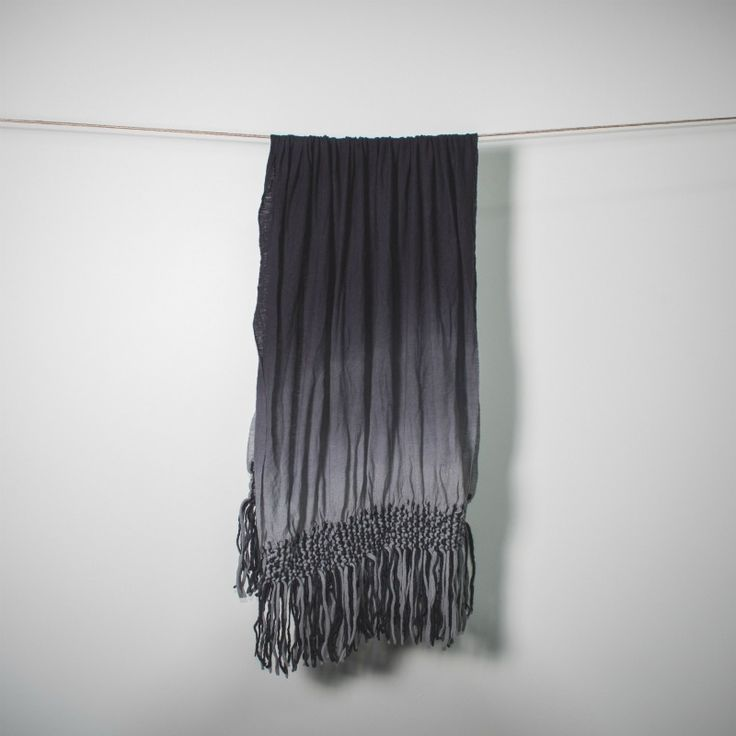 grey ombre wool blanket scarf with macrame fringe