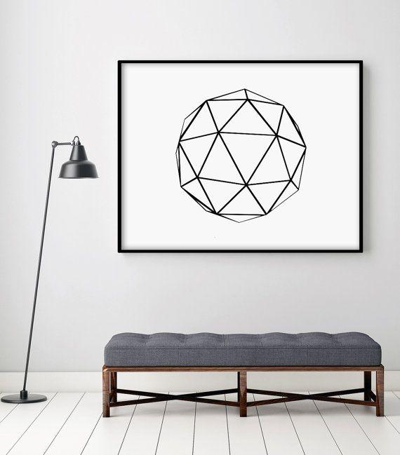Abstract Geometric Polygon Large Art Poster Minimalist Wall Decor Trendy…