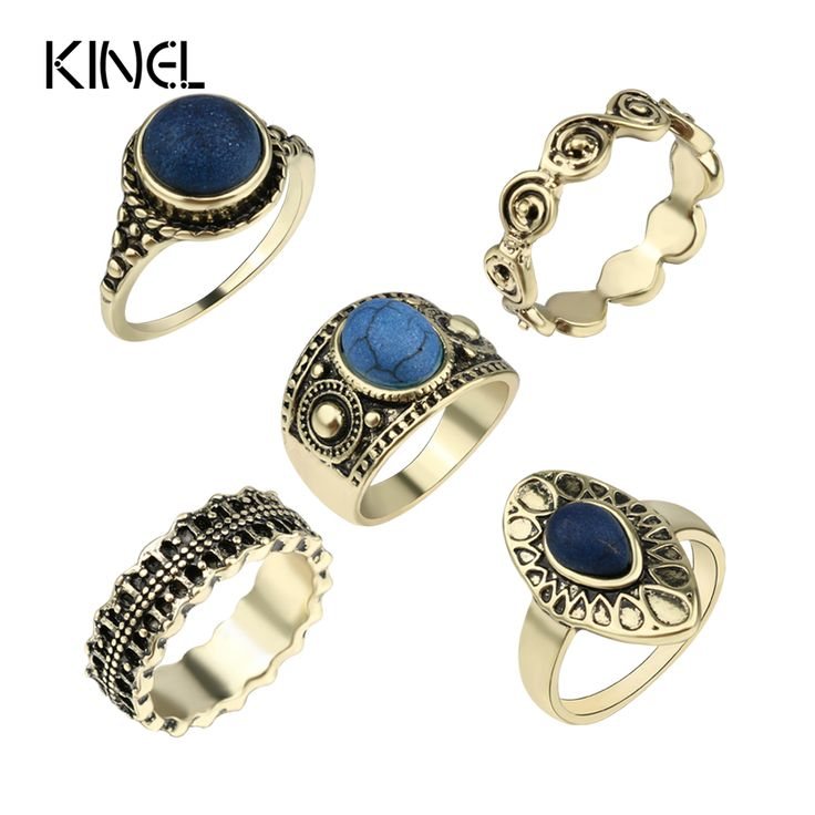 2016 Fashion Dubai Gold 5pcs / Sets Vintage Jewelry Turquoise Midi Rings For Women Bohemia Beach Finger Joint Ring Crystal Gifts