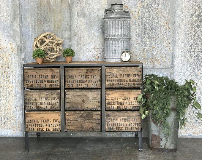 Vintage Fruit Crate Credenza Dresser 100yr Old Barn Wood For