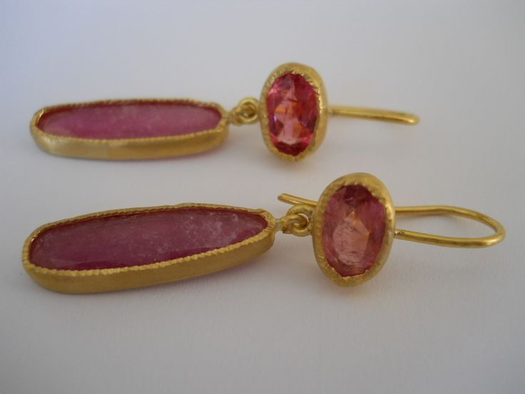 Pamela Harari's Pink Tourmaline in 22K Gold Earrings