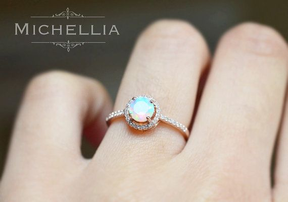 14K/18K Opal Engagement Ring with Halo Diamond by MichelliaDesigns