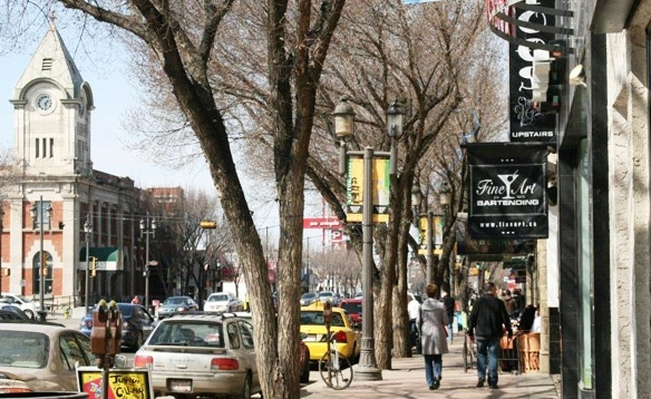 Old Strathcona Whyte Avenue Shoppers in Early Winter
