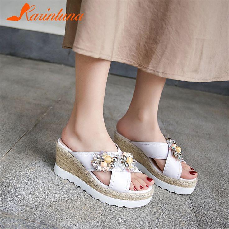 KARINLUNA Brand New women's Genuine Leather Crystal Ladies Wedges High Heels Platform Shoes Woman Casual Outside Summer Slippers