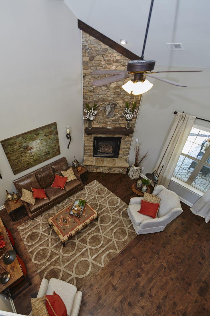Regency Homebuilders Great Room Vaulted Ceiling Stone