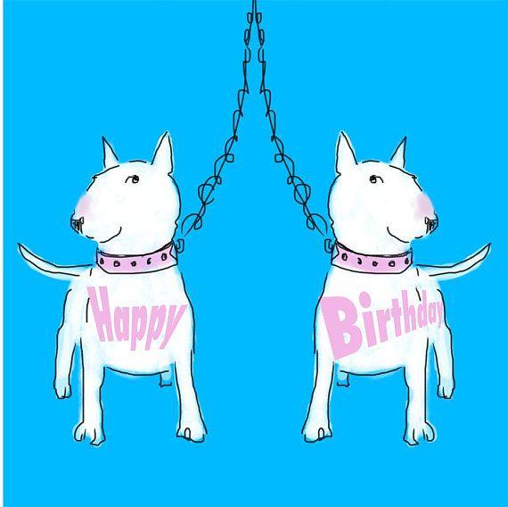 Открытка с днем рождения бультерьер