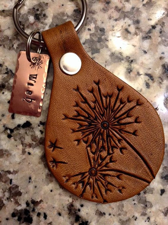Leather Dandelion Wish Keychain Leather by lorisleatherandmetal