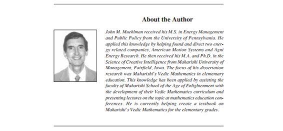 Vedic Mathematics in Elementary Education: John M. Muehlman http://www.mum.edu/pdf_msvs/v08/muehlman.pdf