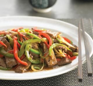 beef in black bean saucechinese rice wine  1red and green capsicum