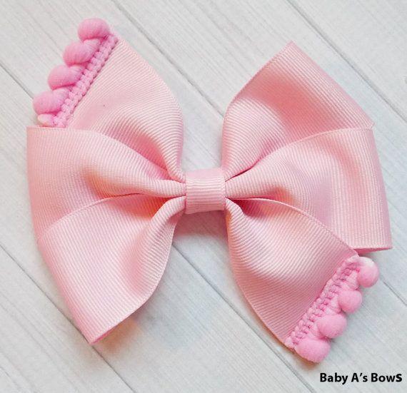 Light Pink Pom Pom Pinwheel Bow Pink Hair Bow Big by BabyABows
