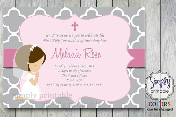 First Communion Invitation with Little Girl