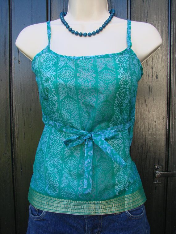 Boho 32 Petite Indian Green Batik Silk Upcycled Sari Camisole, Gypsy sari tank top, Beach Holiday Resort Cami-For Teens Teenage girls
