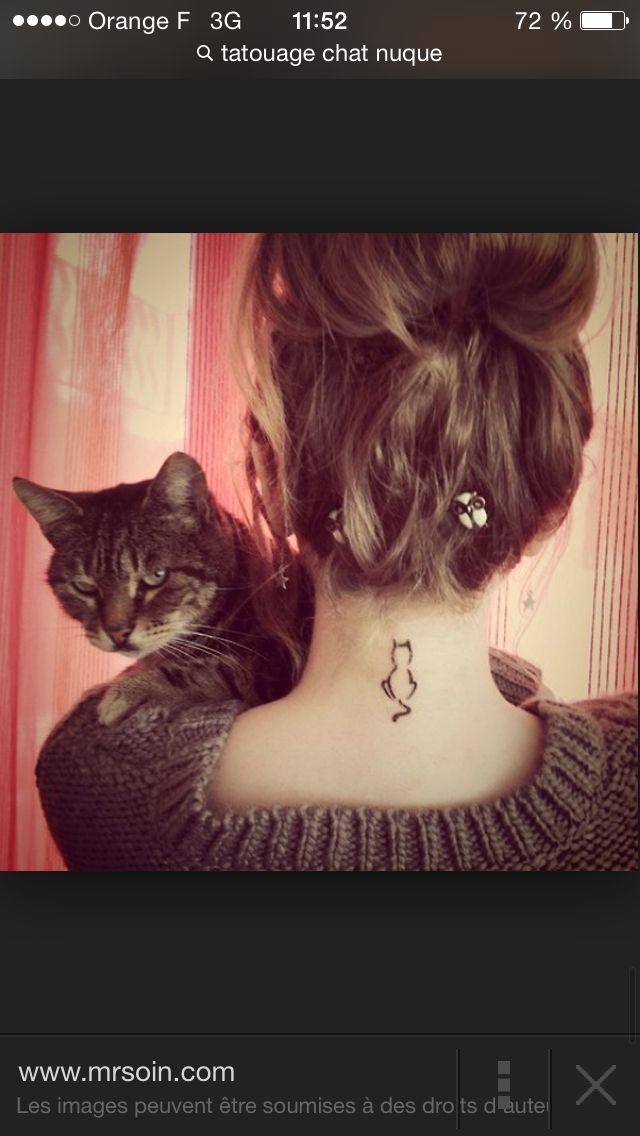 Chat nuque tatouage pinterest - Tatouage silhouette chat ...