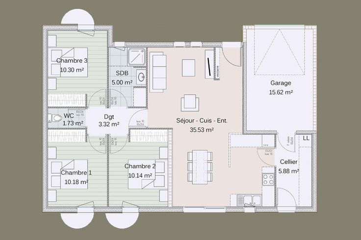 Plan Kotibe 3 chambres + garage tableau haj Pinterest