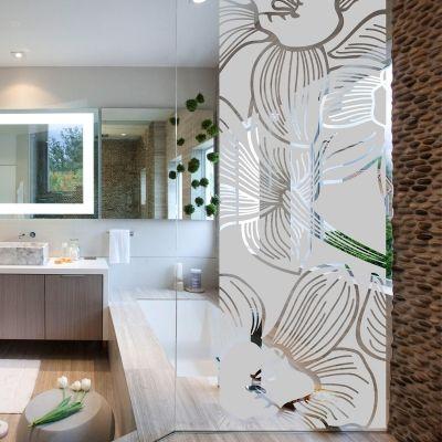 Stickers muraux pour salle de bain - Sticker mural douche fleur d'orchidée 185x55cm - ambiance-sticker.com
