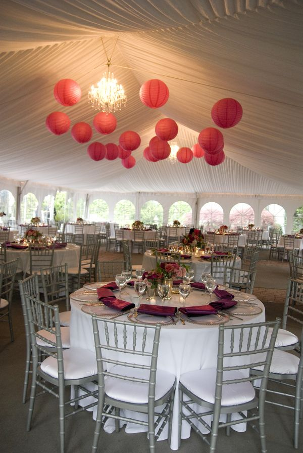 hot pink and grey wedding reception | Hot Pink Wedding Reception Decor 275x410 Fuschia and Gray Tent Wedding ...