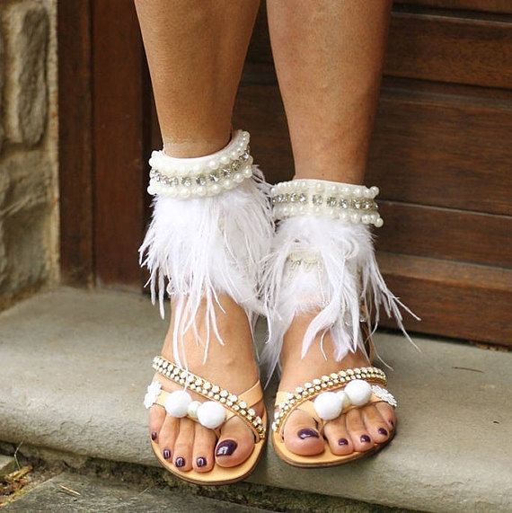 SALE 50% OFF Feather 'The Swan Queen' sandals