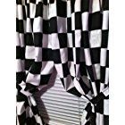 """2 WINDOW CURTAIN PANELS MADE FROM COTTON Nascar Race or Retro Diner Black and White Checkered Flag FABRIC Each panel is 42"""" wide x 84"""" long"""