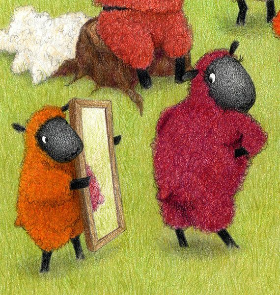 Fall Sheep - PRINT of a colored pencil illustration - Childrens Picture Book Art - Funny Humorous Cute