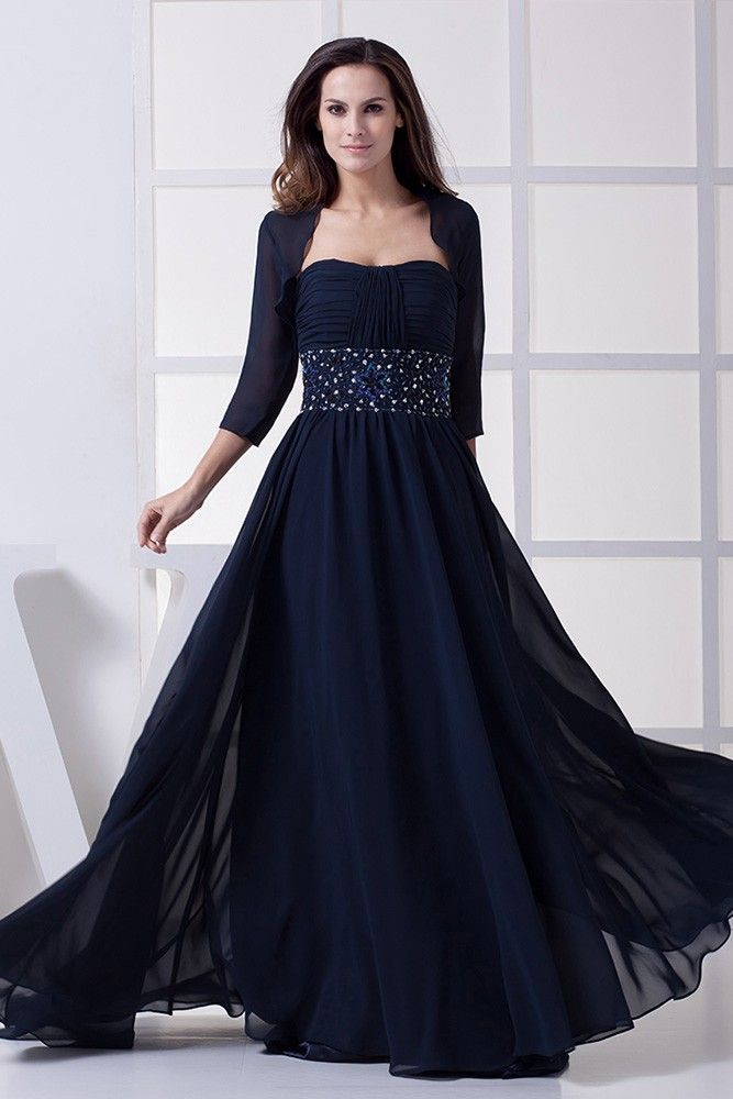 Shop best price dark navy blue beaded chiffon long mother of bride dress with jacket online. Free Shipping and Custom-made. Pro since 2009.