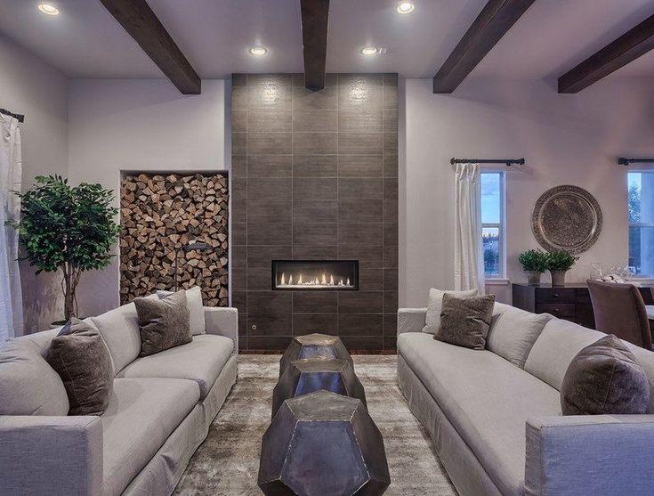 Rangement bois de chauffage pour l int rieur en 55 id es rangement bois de - Habillage de cheminee exterieur ...