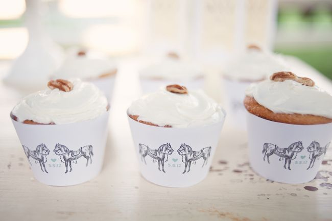 equestrian wedding: horse cupcake wrappers made by Amy Hardy of Design 8 Days {Confetti Pop}