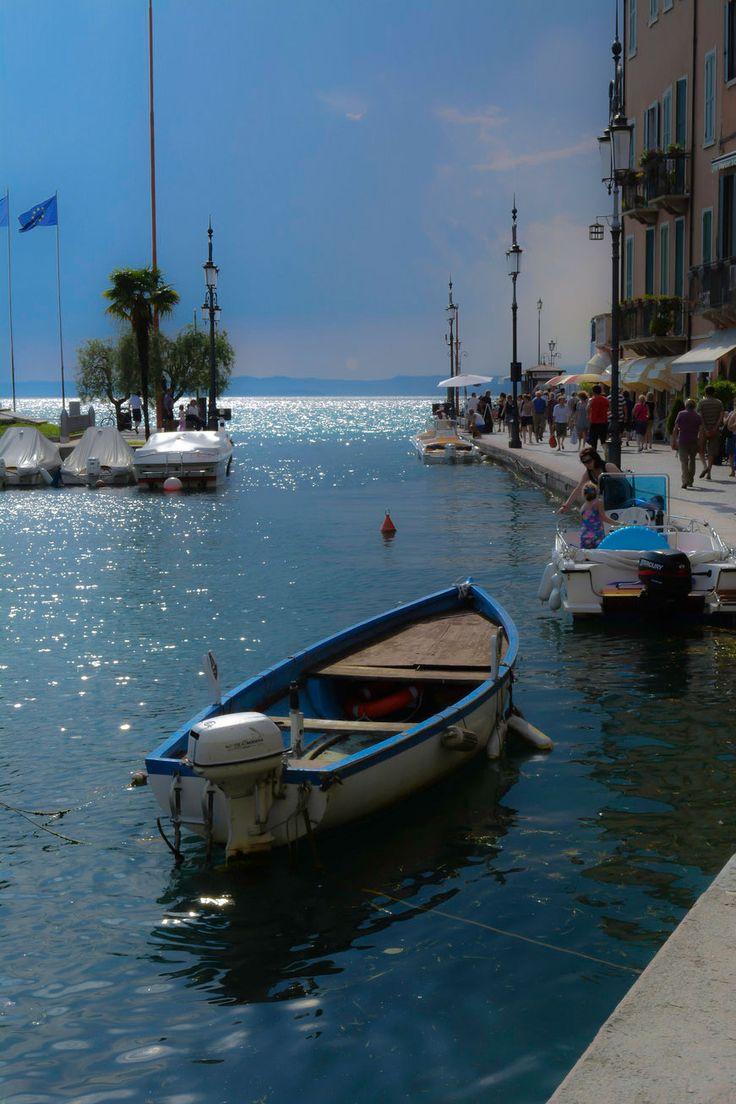 Night in Lazise, Lake Garda, Italy, province of Brescia Lombardy