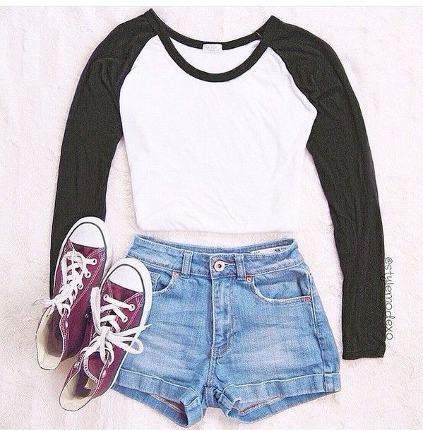 5. A simple Varsity style crop top, with blue denim jean shorts, and cherry red high top Converse All Star Chuck Taylors