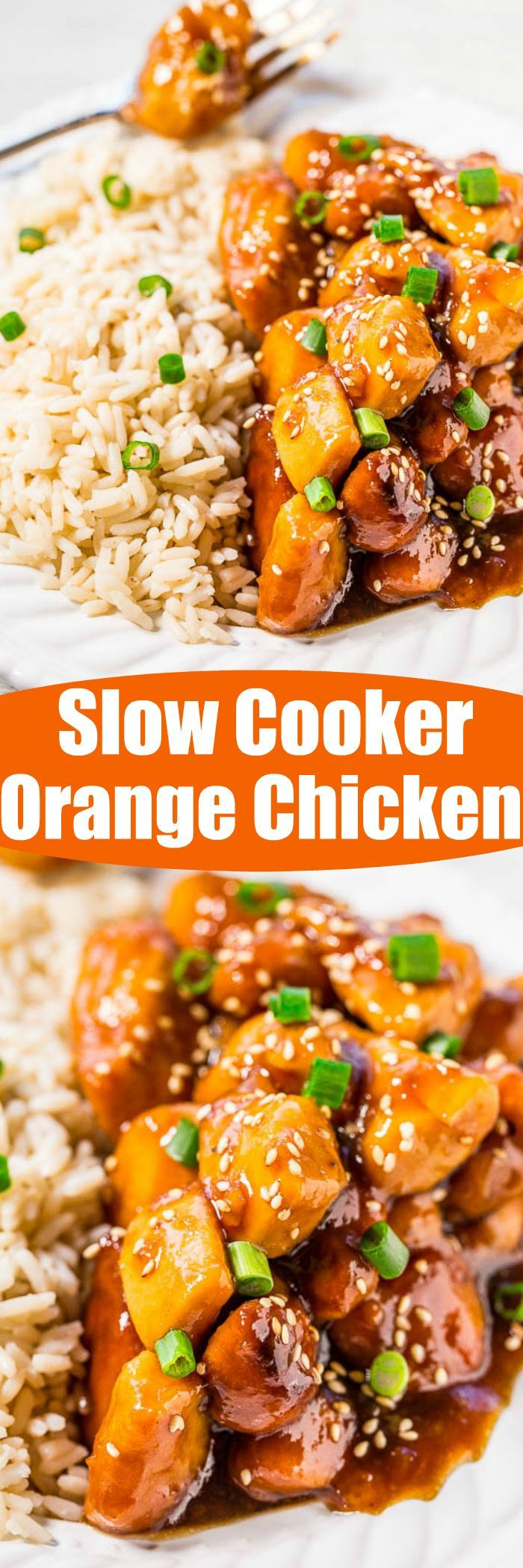 Slow Cooker Orange Chicken - The easiest orange chicken ever because your slow cooker does all the work!! Super juicy, tender, and coated with a sweet-yet-tangy orange glaze that's irresistible!! ~ Averie Cooks