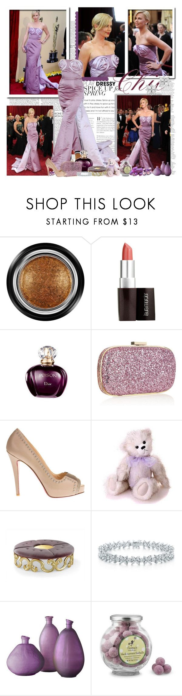 """Charlize Theron at the Oscars 2010..."" by purplecherryblossom ❤ liked on Polyvore featuring Christian Dior, Giorgio Armani, Laura Mercier, Anya Hindmarch, Christian Louboutin, Ashby, Tiffany & Co., Williams-Sonoma and Novelty"