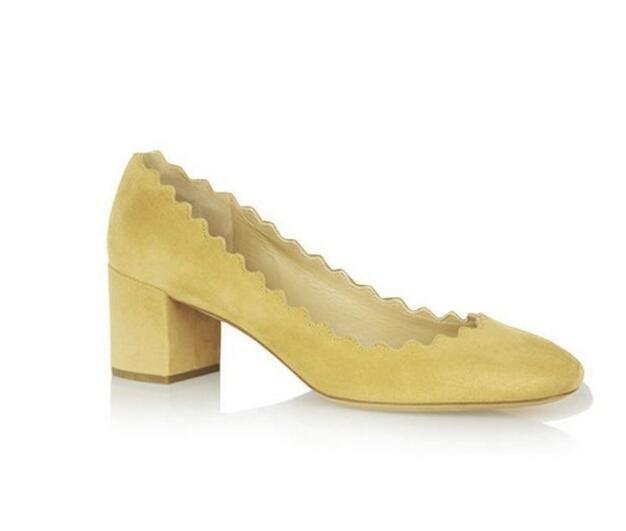 Chic Low Heel Pumps Womens Shoes Round Toe Pumps Suede Block Heels Size 4-15 Ladies Shoes Pumps Woman Shoes 2016 Summer