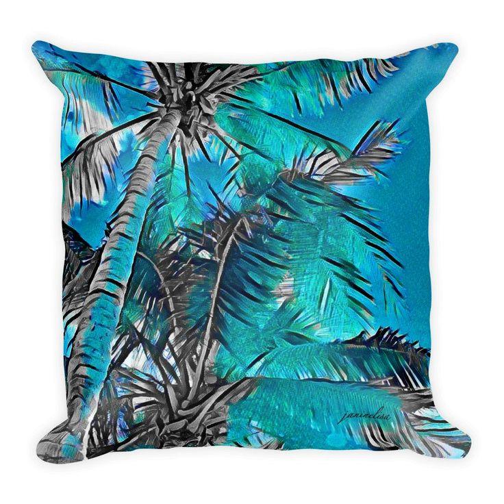 Aqua & Black Coconut Coconut Palms Square Pillow