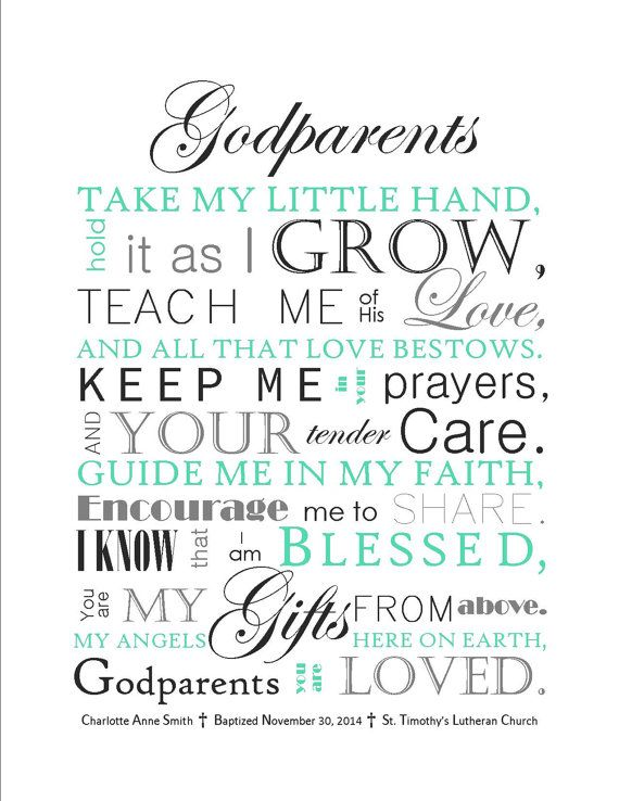 DIGITAL FILE: Godparents Gift Godmother Gift by SayitinStyleArt