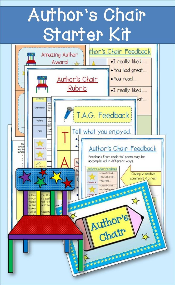 If you're looking to start an author's chair in your classroom, this kit has all you need.  You'll find feedback charts, signs, certificates, and a rubric.  Easy printables mean that you can use this year after year.
