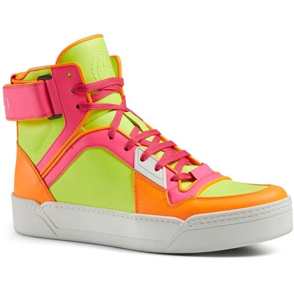 Gucci New Basketball Sneakers ($840) ❤ liked on Polyvore featuring shoes, sneakers, neon, rubber sole shoes, neon shoes, neon sneakers, gucci and fluorescent shoes