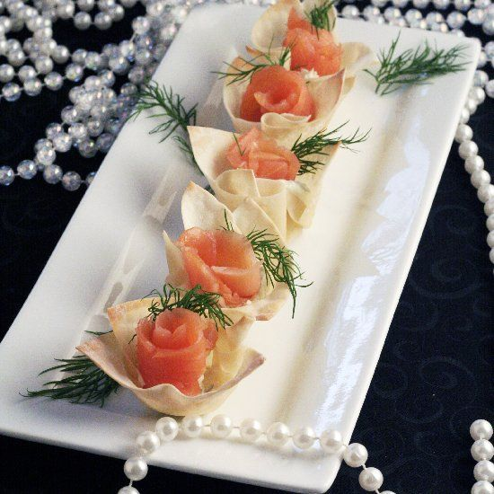 ... Appetizer – Smoked Salmon and Horseradish Mascarpone in Wonton Cups