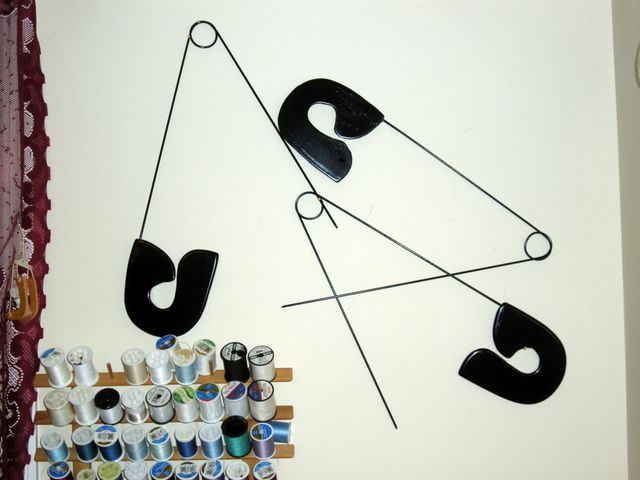 Giant Safety Pins | My giant safety pins sewing room wall ...