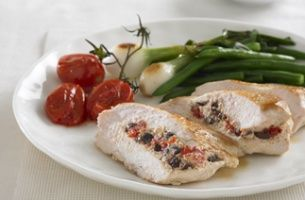 Chicken breast fillets filled with PHILADELPHIA, tomato and olives