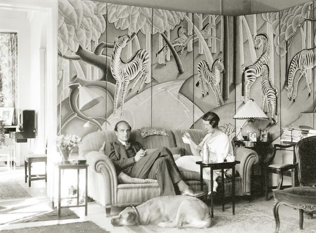 little augury: Our Time At FOXHOLLOW FARM. In 1925, Margaret Dows married Swedish diplomat Knut Thyberg at Foxhollow. The pair were living in Copenhagen when this photograph was taken in 1932. The couple, along with their bullmastiff Antoinette, are seated in front of an exceptional 8 panel screen with zebras in the Art Deco style painted by Olin.