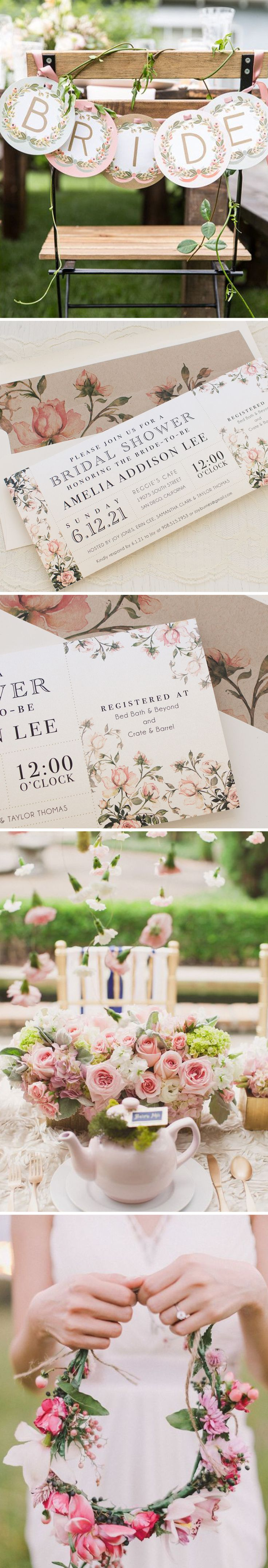Set the tone of your bridal shower with Garden Roses, Beacon Lane's floral style invitations with patterned envelope liners specially made for your party.
