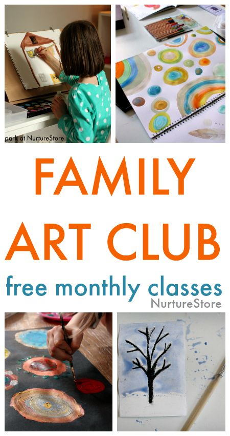 Online Family Art Club, free monthly art classes for children and parents. Famous art lessons for children, free art lesson plans, easy art projects for kids