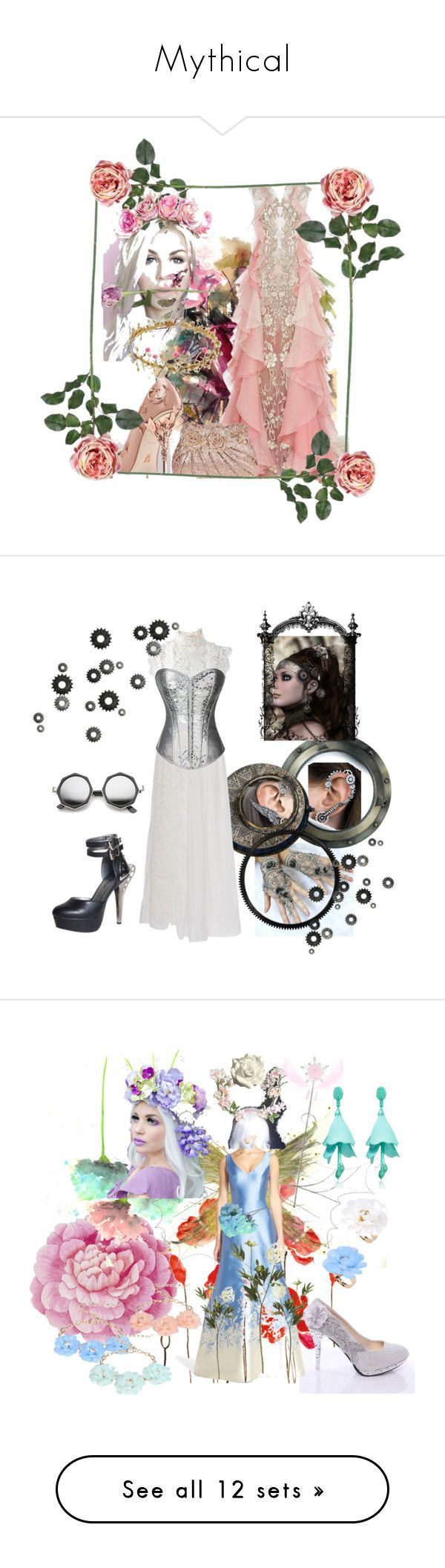 """""""Mythical"""" by adele-h-pocketbook ❤ liked on Polyvore featuring art, Flowers, HADES, Oscar de la Renta, ZeroUV, Kenroy Home, lila.eugenie, Silver, steampunk and Ballard Designs"""