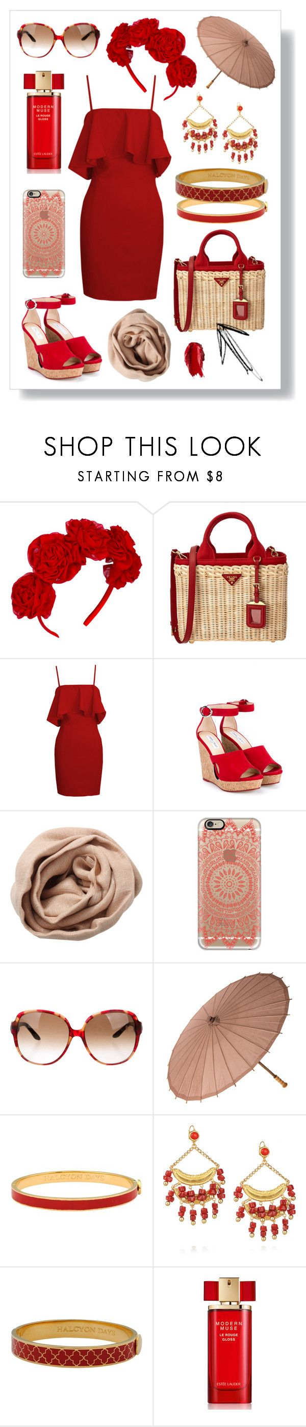 N° 99   Featured Piece: TOTE BAG by #yellowyippie on Polyvore featuring Mode, Vjera Vilicnik, Prada, Jimmy Choo, Brunello Cucinelli, Casetify, Christian Dior, Halcyon Days, Kenneth Jay Lane und Estée Lauder #yellowyippie  #ootd  #getthelook  #polyvore  #fashion #featuredpiece #chic #red #beige #canvas #woody #partystyle #summerstyle #holidaychic #ruffle