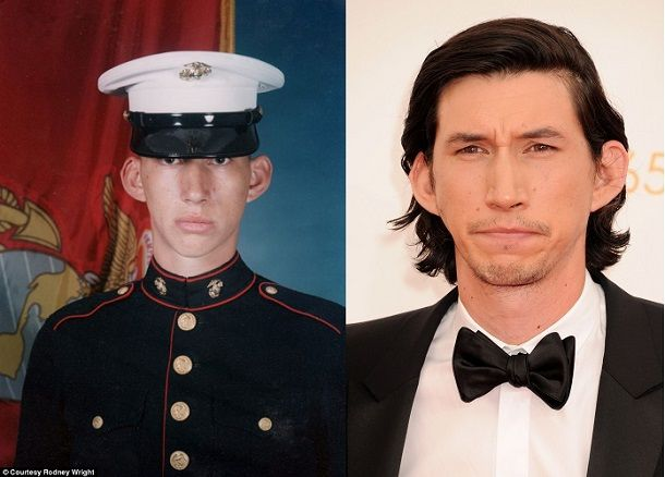 Adam Driver enlisted in the Marines shortly after 9/11 and served his two years. After Marine life, Driver went to Julliard to study acting....