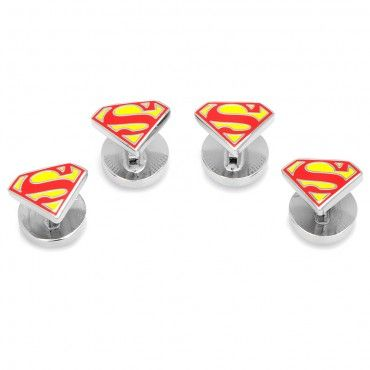 DC COMICS Enamel Superman Shield Tuxedo Studs - New | Cufflinks.com